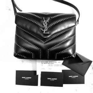 Saint Laurent Black Lou Lou Stud Embellished Bag